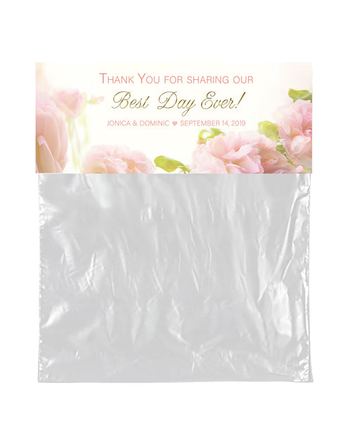 (sku256a) Soft blush rose bag topper labels | goody bag stickers - Best Welcome Bags