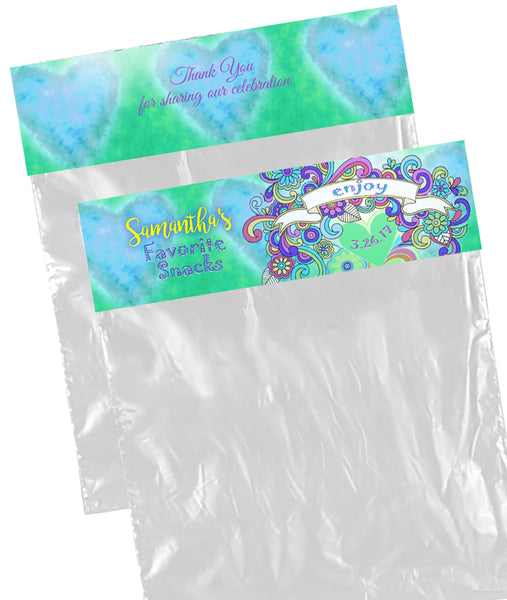 (sku697) goody bag toppers | snack bag labels | tie-dye hippy | candy bag stickers - Best Welcome Bags