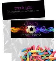 (sku686a) goody bag topper | soccer party | soccer bag label | soccer candy bag sticker - Best Welcome Bags