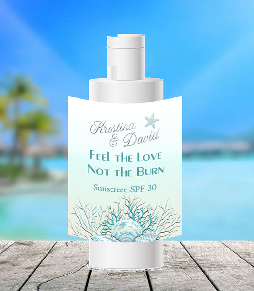 (sku425a) teal + silver sea coral | travel size | sunscreen label | beach party favor - Best Welcome Bags