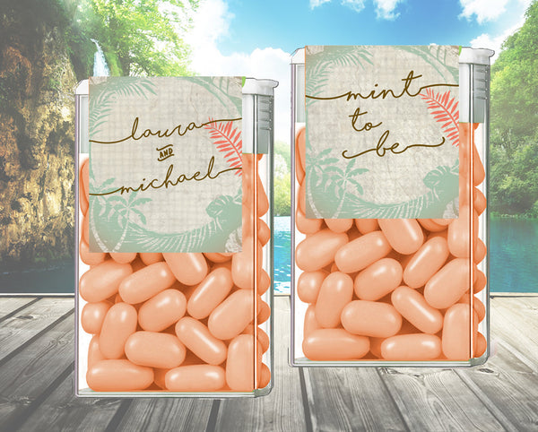 (sku420a) Rustic palm | TicTac container label | Tic Tac wrapper | wedding favor | candy sticker - Best Welcome Bags
