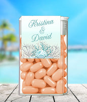 (sku423a) Teal sea coral + silver text | TicTac container label | Tic Tac wrapper | favor - Best Welcome Bags