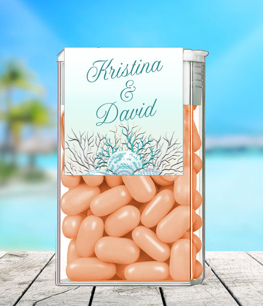 (sku423a) Teal sea coral + silver text | TicTac container label | Tic Tac wrapper | favor