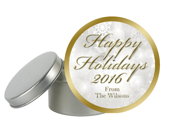 (sku375) custom round labels | winter holiday gift labels | winter wedding goody bag sticker
