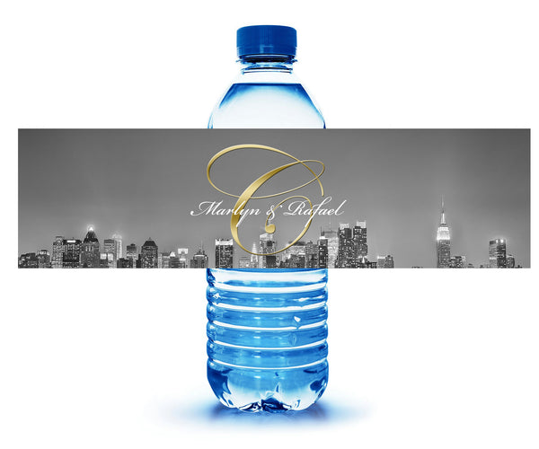 (sku513) New York City | Water bottle labels | adhesive stickers | fit mini to standard 17oz - Best Welcome Bags