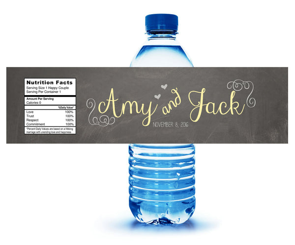 custom chalkboard adhesive water bottle label
