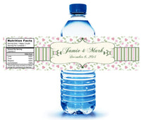 Custom pink and sage gingham water bottle labels