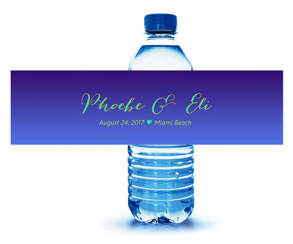 Shades of blue wedding water bottle label