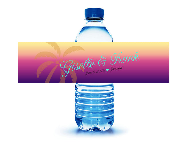 custom palm tree water bottle label for beach hotel guest welcome bag