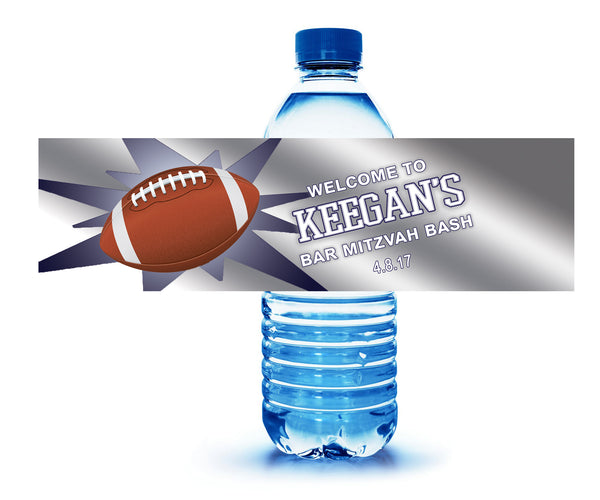 (sku678) football water bottle label | personalized football sticker | football label - Best Welcome Bags