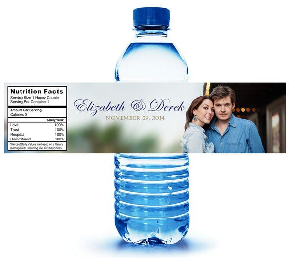 (sku158) Custom photo water bottle label for showers, wedding receptions or party, welcome bag