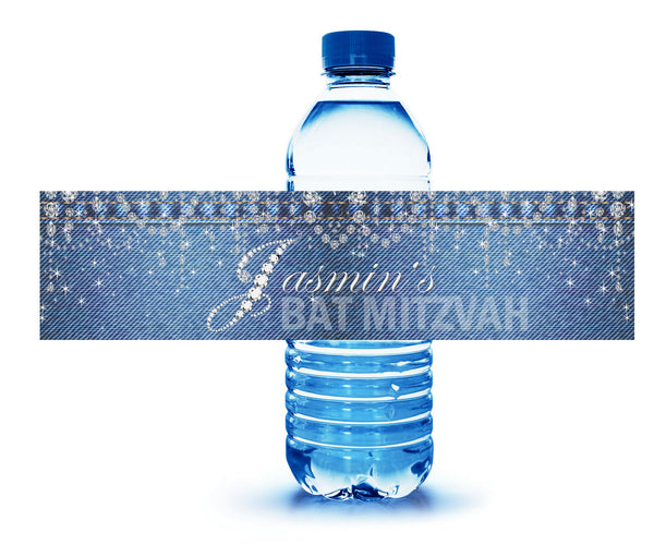 Custom denim and diamonds water bottle labels | adhesive stickers
