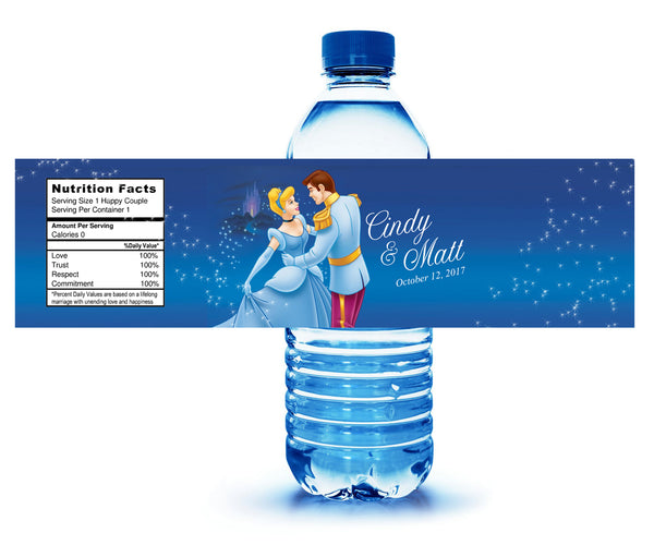 (sku611) Cinderella party | water bottle labels | Prince Charming bottle stickers - Best Welcome Bags