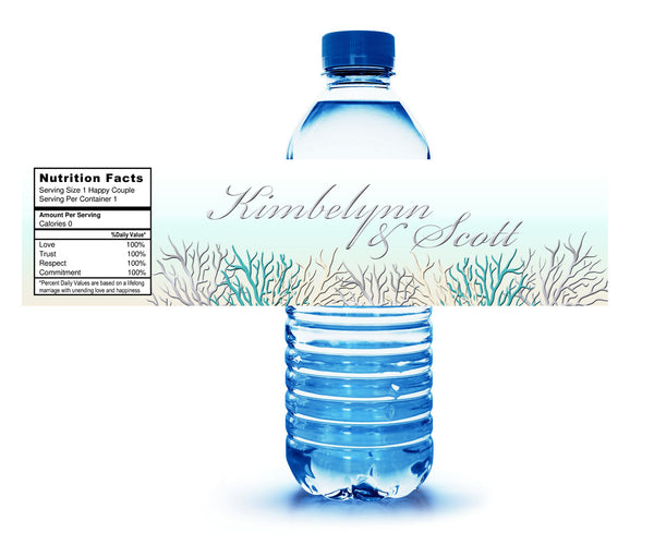 (sku425) teal ocean coral | water bottle labels | adhesive stickers | fits  mini to standard