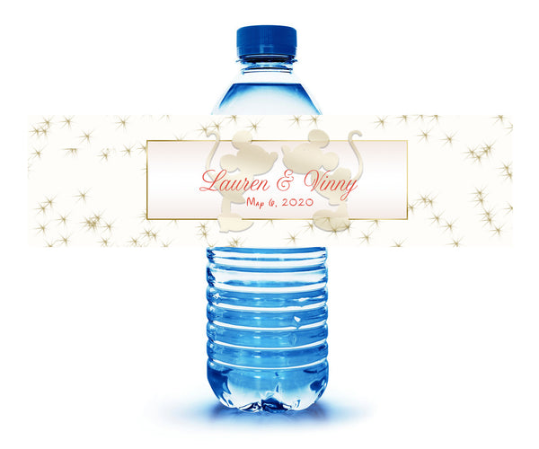 (sku643) Mickey and Minnie water bottle label | bottle stickers | water labels - Best Welcome Bags