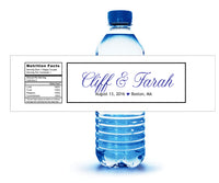 Blue and white water bottle label