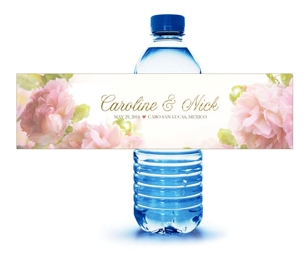 (sku260) water bottle labels | custom printed soft blush roses - Best Welcome Bags