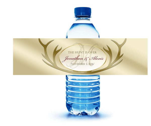 the hunt is over water bottle label for wedding welcome bag