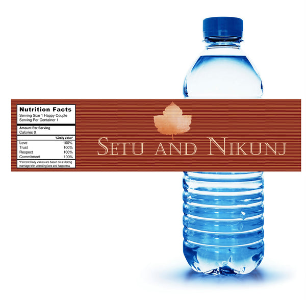 Custom autumn fall leaf water bottle label