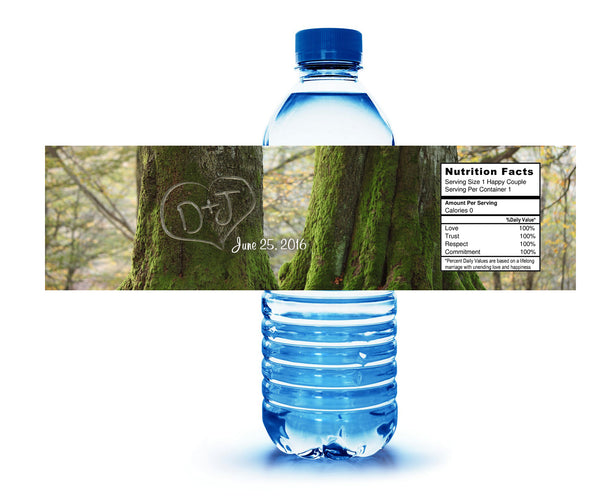 (sku253) initials on tree water bottle label for shower, wedding receptions, hotel guests welcome bag