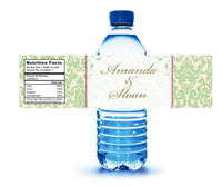 pale green on ivory water bottle label with accent color