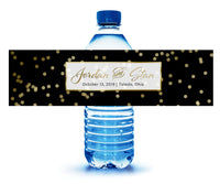 (sku208) black with gold dot | water bottle label | water sticker | custom bottle label - Best Welcome Bags