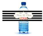 black stripe water bottle label with pink and gold accents