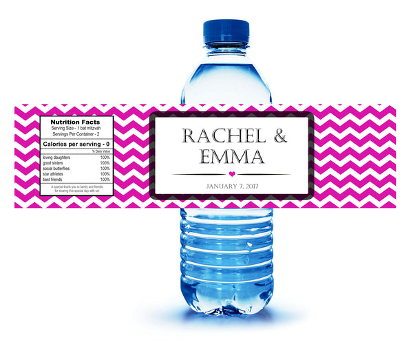 pick color of personalized water bottle labels for birthday party