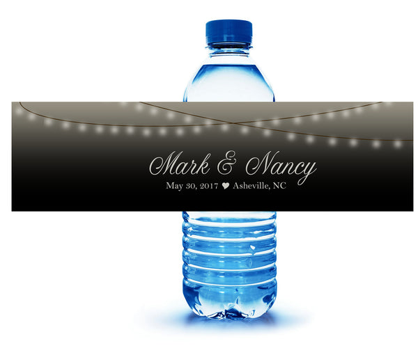 (sku239)strand of lights water bottle label for shower, reception, party, hotel guests welcome gift bag
