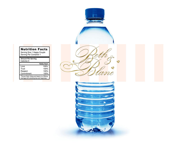 broad blush stripe with gold text water bottle labels