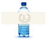 (sku114) wreath monogram water bottle labels | adhesive backed bottle stickers - Best Welcome Bags