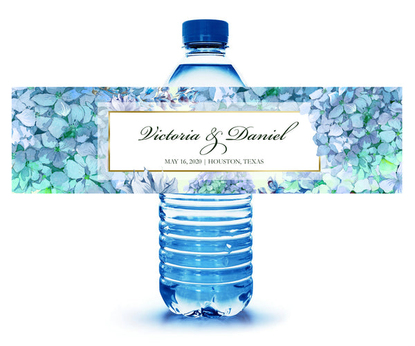 (sku033) hydrangea water bottle label | custom floral bottle sticker - Best Welcome Bags