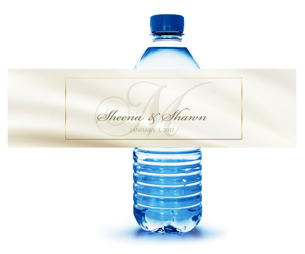 (sku235)monogram water bottle label ivory with gold for shower, reception, party, hotel welcome bag
