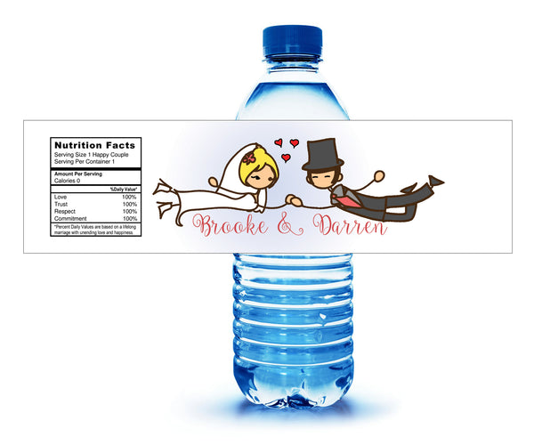 Cartoon pick hair and skin colors water bottle labels