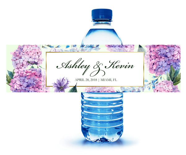 Pink + purple hydrangea custom water bottle labels