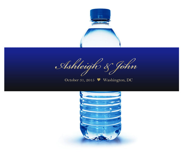 Royal blue and gold custom water bottle label