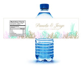(sku389) gold coral beach water bottle label for wedding reception, hotel guests