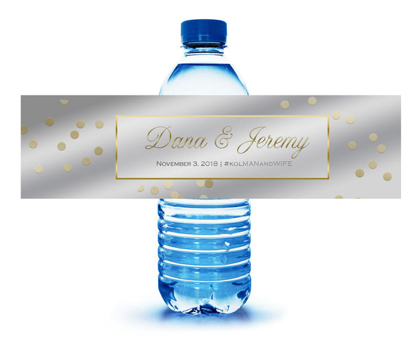 (sku843) Silver + gold | water bottle label | water bottle sticker | custom water label - Best Welcome Bags