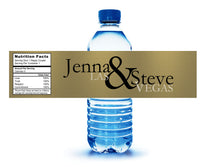 (sku537)  Las Vegas water bottle labels | Gold or silver - Best Welcome Bags