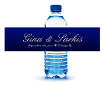personalized royal blue and gold water bottle label