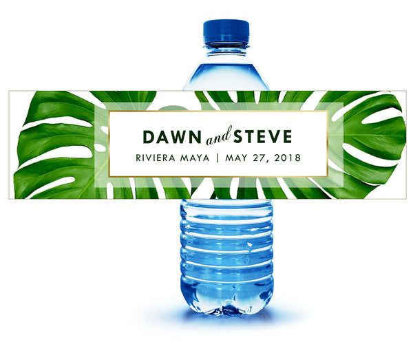(sku464) Giant palm leaf | water bottle labels | beach party bottle stickers - Best Welcome Bags