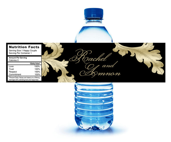 (sku218) baroque Grecian leaf water bottle labels | Any color stickers - Best Welcome Bags
