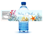(sku413a) bright ocean coral | water bottle labels | beach party bottle stickers - Best Welcome Bags