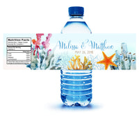Custom printed bright ocean coral water bottle label