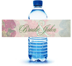 pink and sage floral custom water bottle label