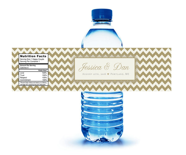 (sku198) Water bottle label chevron any colors for showers, reception, party, welcome bag