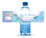 blue palm leaf custom water bottle label