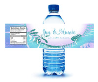 (sku469) blue palm leaf | water bottle labels | beach party wedding bottle stickers - Best Welcome Bags