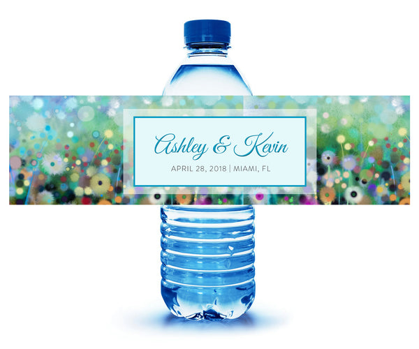 (sku085) Summer wedding | floral water bottle label | custom wedding bottle sticker - Best Welcome Bags
