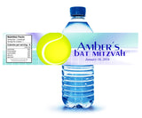 tennis water bottle label for bat mitzvah birthday sweet 16 quince